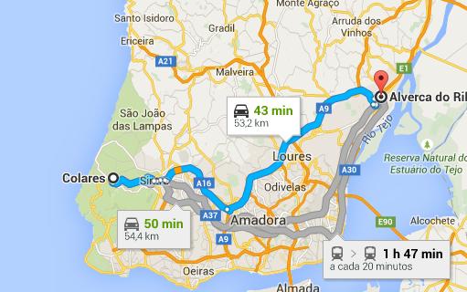 mapa de portugal alverca Colares Sintra a Alverca do Ribatejo Google Maps | Clube de Vinhos  mapa de portugal alverca