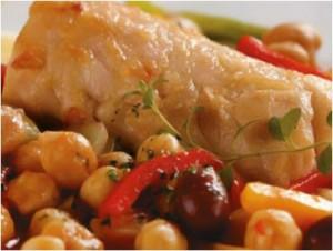 Bacalhau com pimentos e grao de bico
